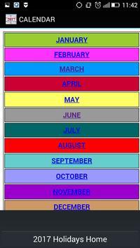 Holidays Calendar 2016, 2017, 2018, 2019 apk screenshot