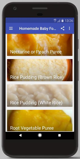 HOMEMADE BABY FOOD RECIPES - 4 MONTHS OLD AND UP for Android