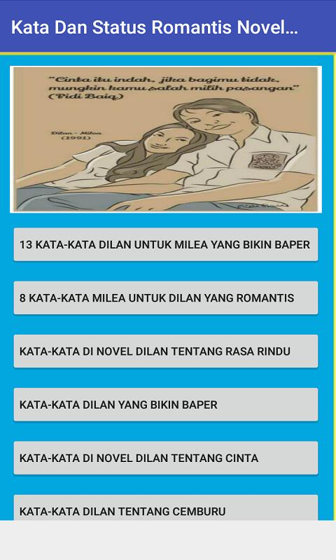 Status Romantis Novel Dilan Milea 1990 1991 For Android