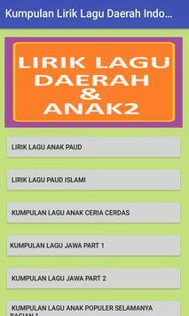 Kumpulan Lirik Lagu Daerah Indonesia Dan Lagu Anak poster
