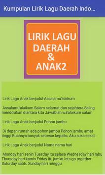 Kumpulan Lirik Lagu Daerah Indonesia Dan Lagu Anak apk screenshot