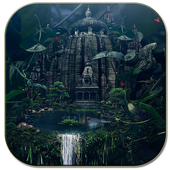 Temple in forest icon