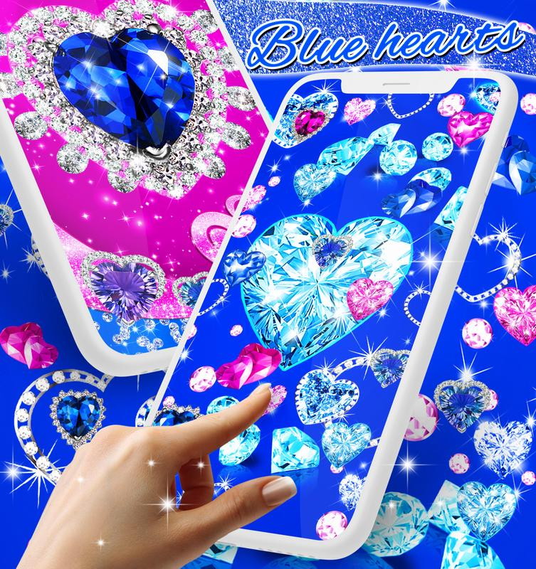 blue hearts crystal diamonds live wallpaper for android