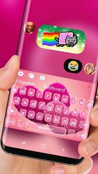 Cherry Love Pink Heart Keyboard Skin Red Romance apk screenshot