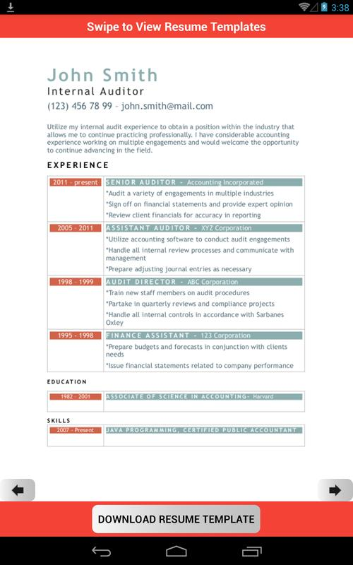 Resume Template Creator Free Apk Download Free Business App For