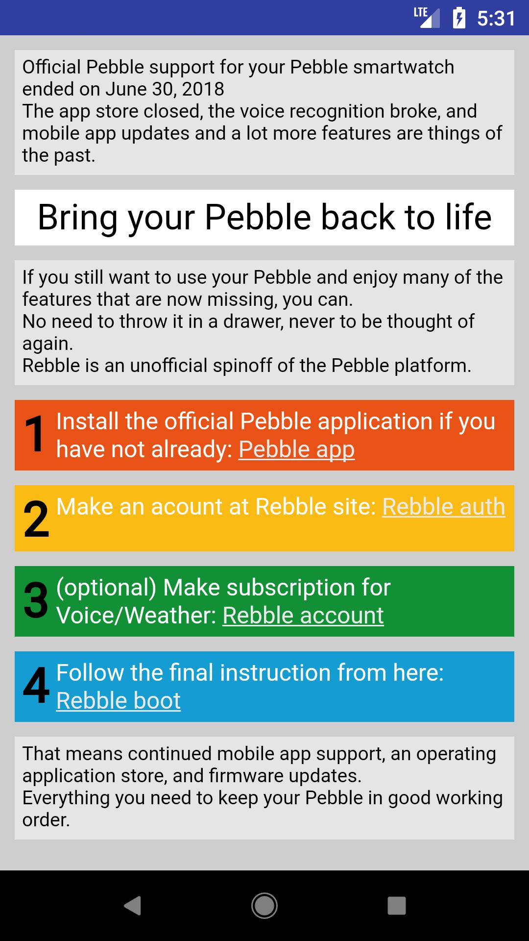 Pebble alternate App Store helper for Android - APK Download