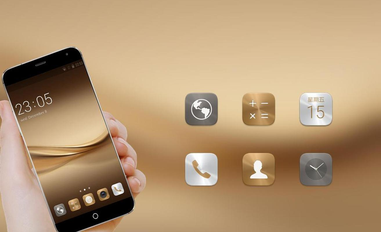 Theme For Huawei P8 & P10 Gold Wallpaper Icon Pack For