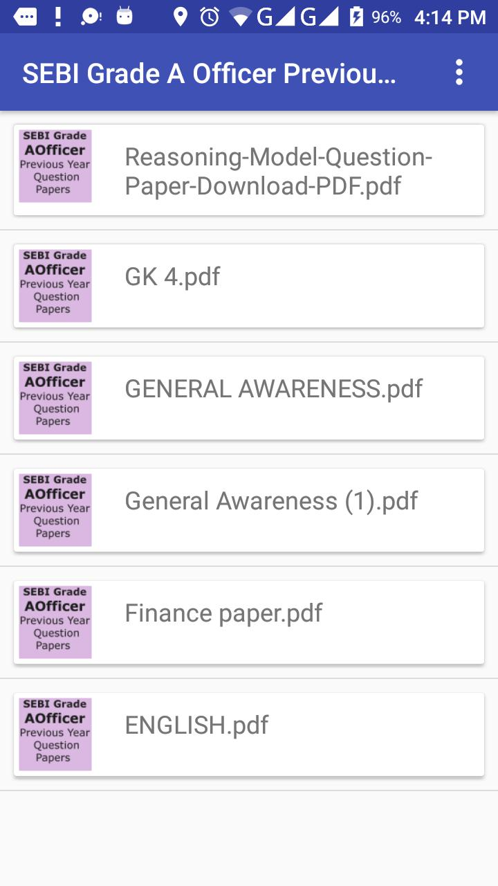 SEBI Grade A Previous year Question Papers pdf for Android