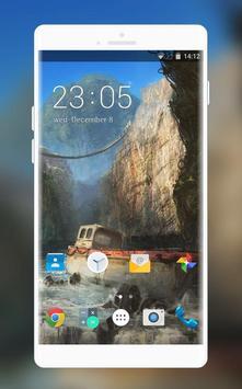 Theme for Intex Aqua T5 Cliff Waterfall Wallpaper poster