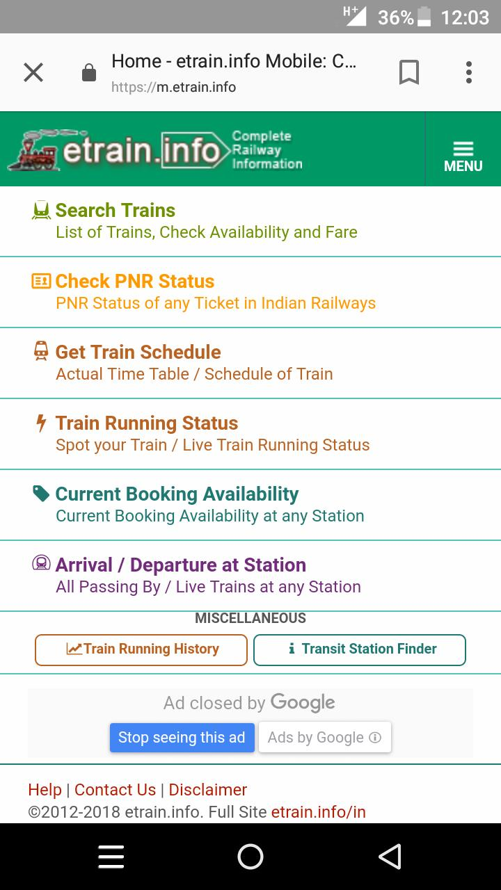 Indian Railways m etrain@info for Android - APK Download
