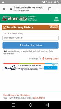 Indian Railways m.etrain@info apk screenshot