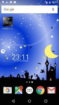 ハロウィン イメージ 時計つきライブ壁紙 無料版 Free apk screenshot