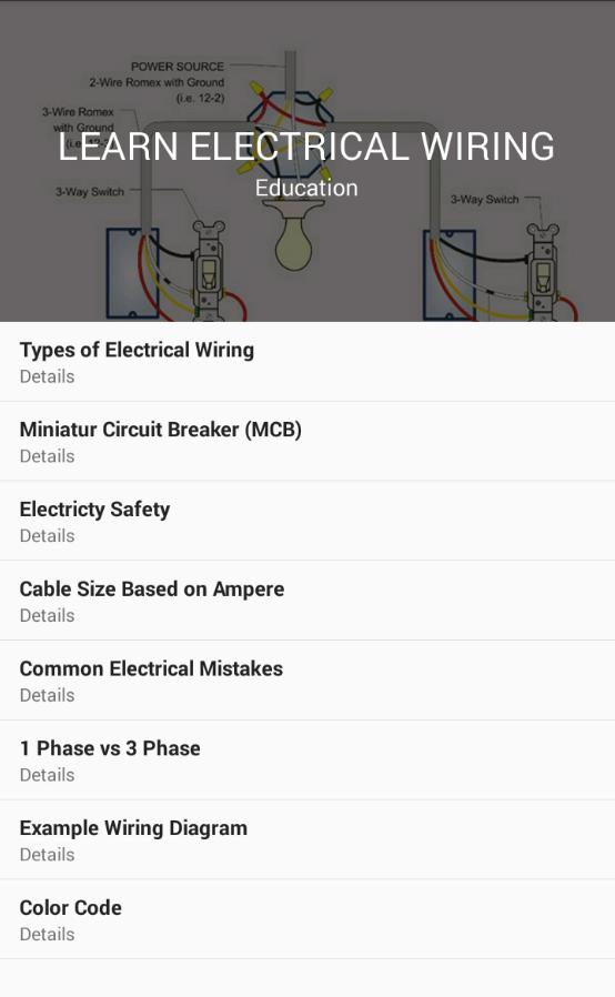 Learn Electrical Wiring for Android - APK Download on basic electrical training, basic electrical troubleshooting, basic electrical symbols, basic electrical theory, basic electrical switch, basic electrical principles, basic electrical repairs, basic electrical knowledge, basic electrical schematic diagrams, basic electronics, basic electrical grounding, basic electrical connectors, basic electricity, basic unit of time, basic electrical test questions, basic electrical units, basic roofing, basic climate controls, basic electrical motors, basic electrical plug,