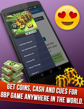 instant Rewards daily free coins for 8 ball pool poster