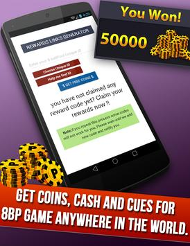 instant Rewards daily free coins for 8 ball pool screenshot 1