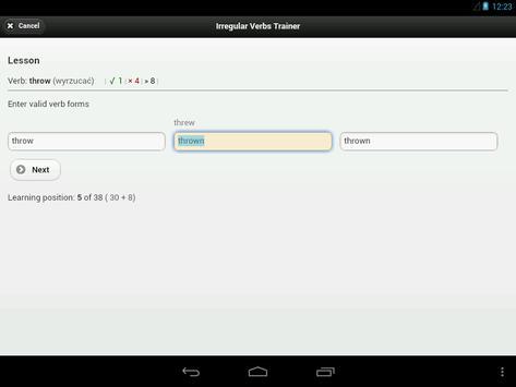 IVT - Irregular Verbs Trainer apk screenshot