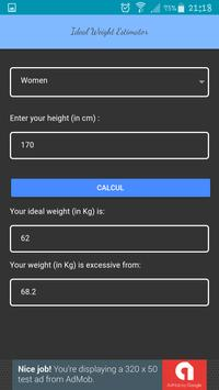 Ideal Weight Estimator - Height to Weight (bmi) apk screenshot