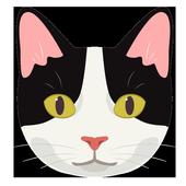 ikon Kucing Item Putih