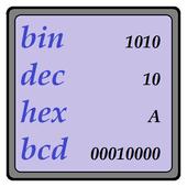 Numeral systems, bin-dec-hex icon