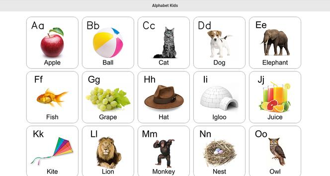 free alphabet kids learn poster - Alphabet Pictures For Kids