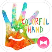 Holi Theme Colorful Hand icon