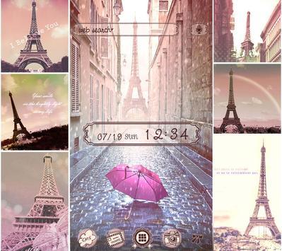 Theme Rain at the Eiffel Tower poster