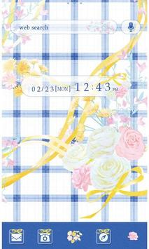 Flower Theme-Blue Gingham- poster