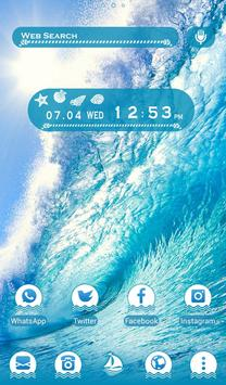 Powerful Wallpaper Blue Ocean Wave Theme poster