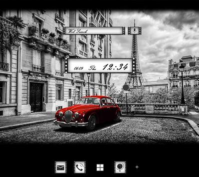 Retro Car in Paris Wallpaper poster