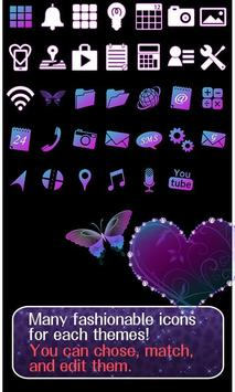 Butterfly Theme Violet Hearts apk screenshot