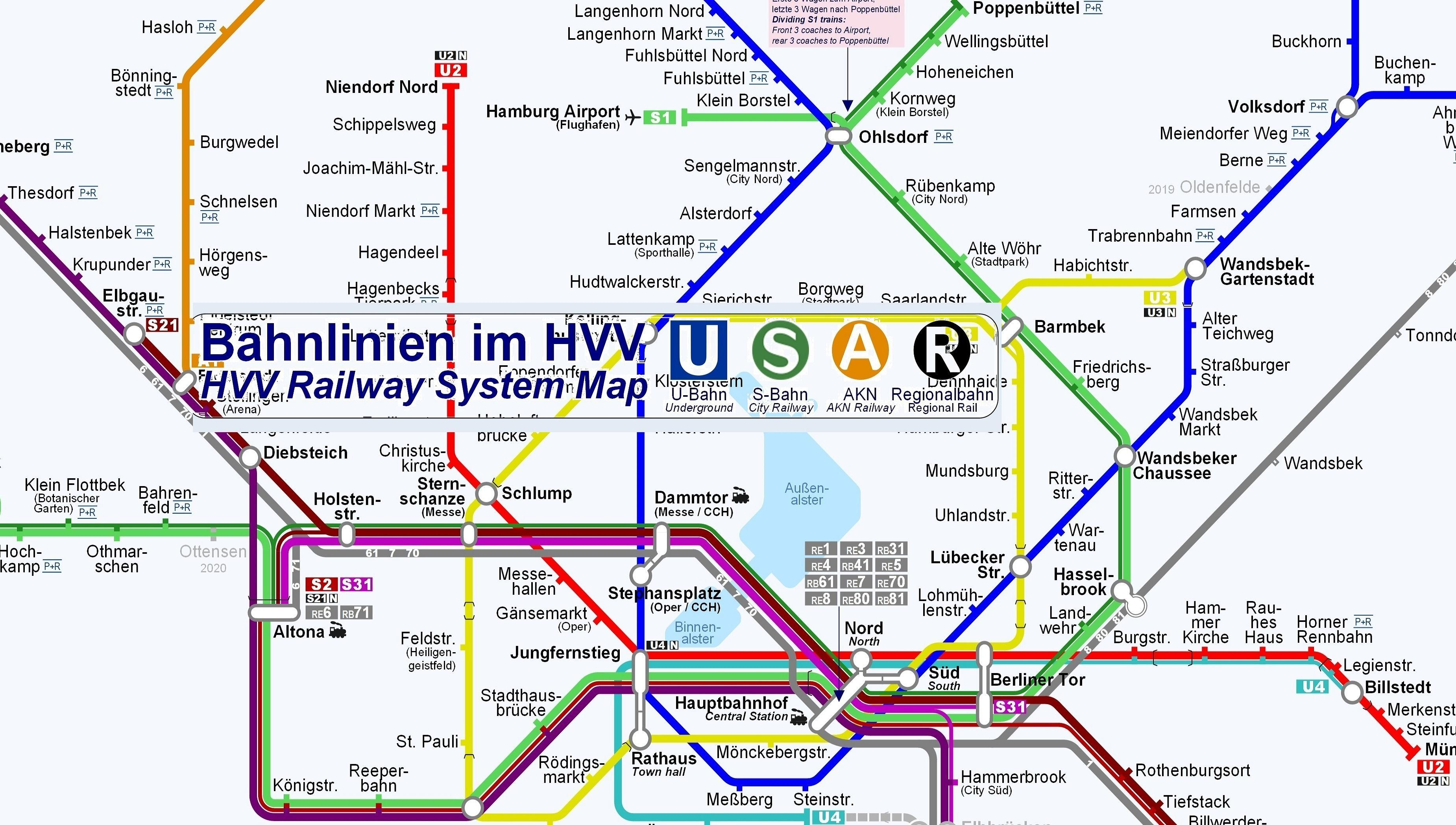 Hamburg Subway Map.Hamburg Subway Metro Train Offline Mapハンブルク電車路線図無料 For