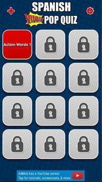 Spanish word pop-up quiz apk screenshot