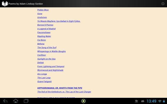 Poems by Adam Lindsay Gordon screenshot 3