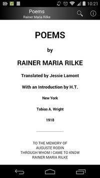 Poems by Rainer Maria Rilke poster
