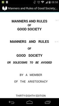 Manners and Rules of Good Society poster