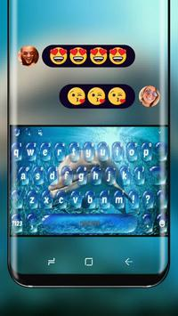 Dolphin in Blue Ocean Keyboard Water Drop poster