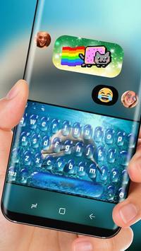Dolphin in Blue Ocean Keyboard Water Drop apk screenshot