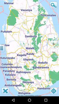 Map of Sri Lanka offline poster
