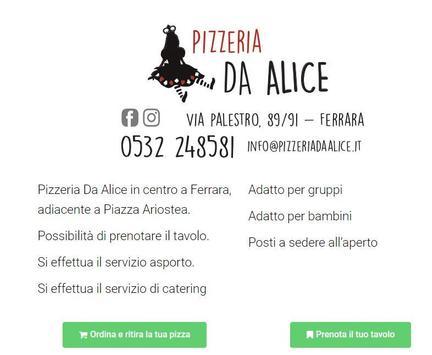 Pizzeria da Alice - Via Palestro 89 Ferrara poster