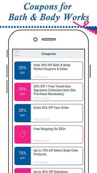 Coupon for Bath And Body Works apk screenshot