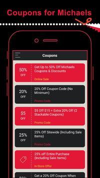 Coupons for Michaels Store apk screenshot