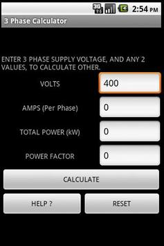 3 PHASE POWER CALCULATOR poster