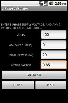 3 PHASE POWER CALCULATOR screenshot 1