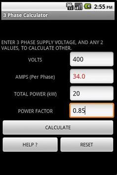 3 PHASE POWER CALCULATOR screenshot 2