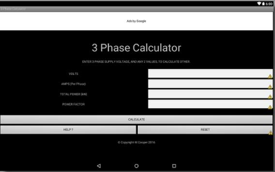 3 PHASE POWER CALCULATOR apk screenshot