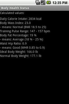 Body Health Status apk screenshot