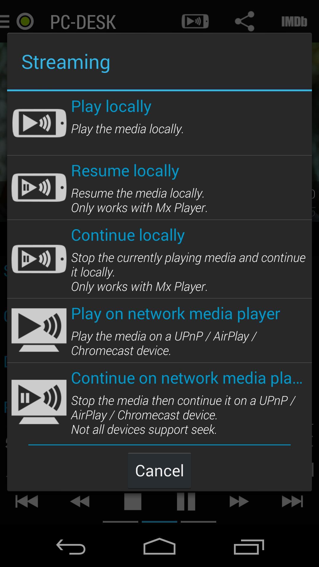 Mx player local network stream