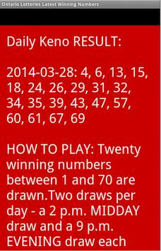 Ontario winning numbers apk screenshot