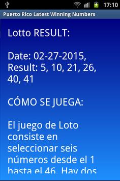 Puerto Rico winning numbers apk screenshot