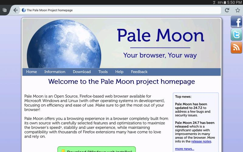 Pale Moon web browser for Android - APK Download